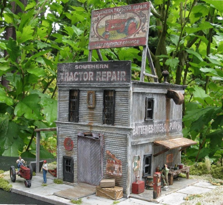 HO scale Tractor repair shop