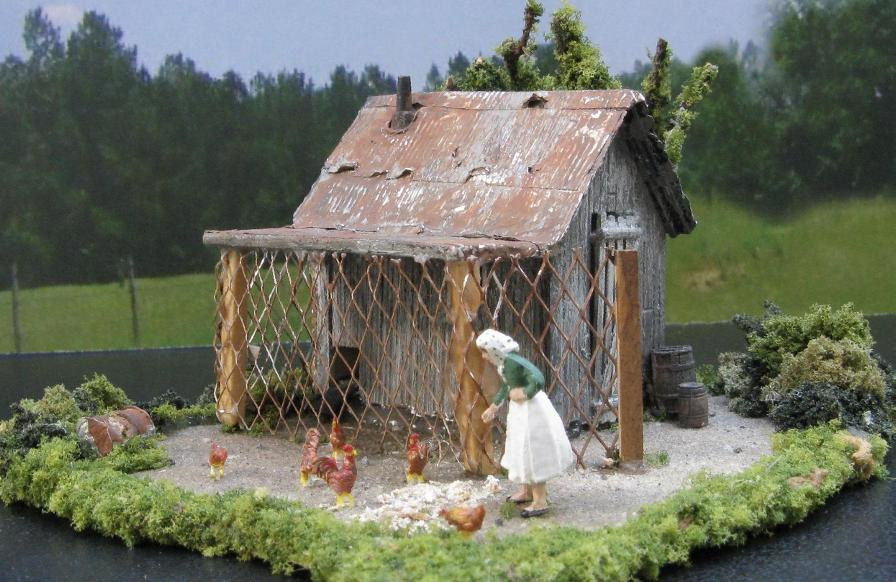 HO scale chicken coop