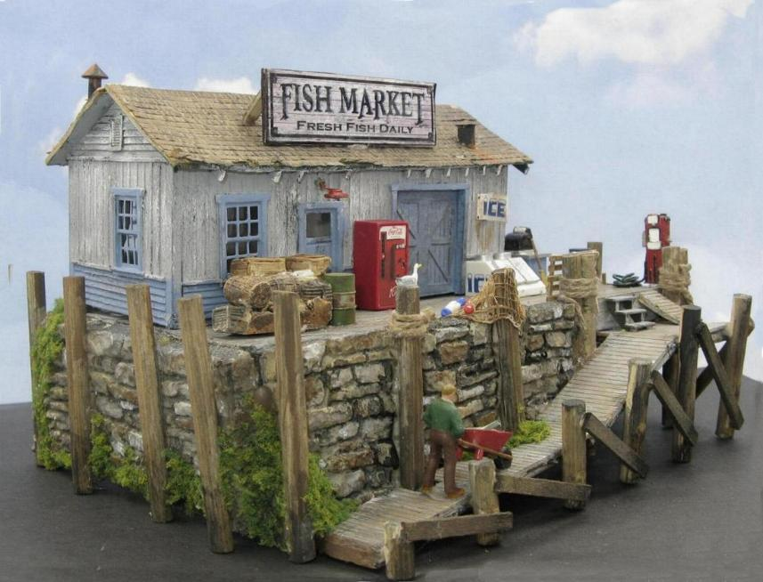 HO scale fish market